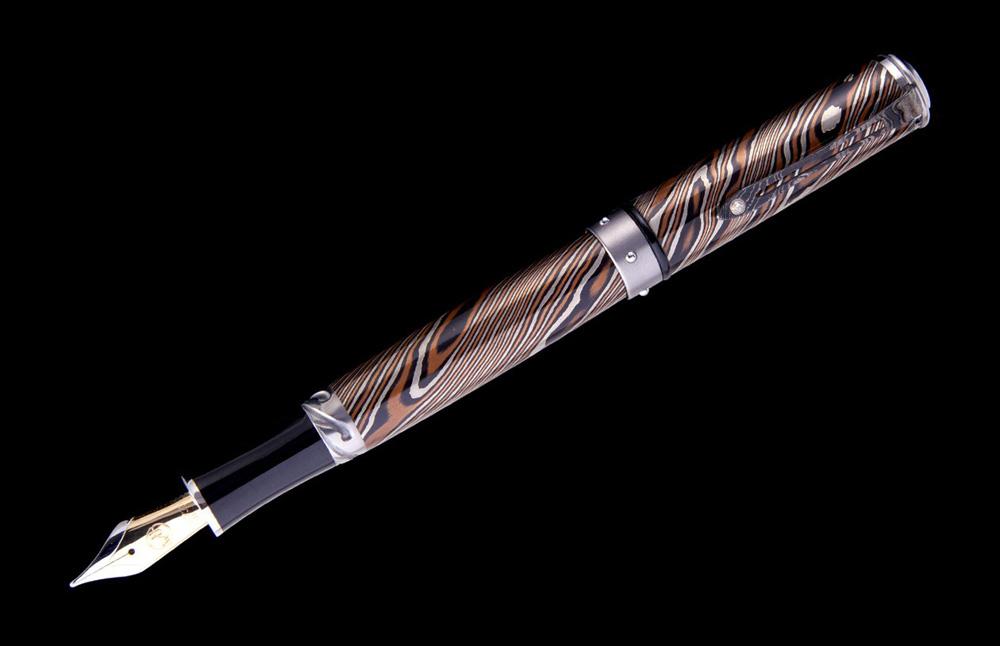 William Henry Cabernet F8-1 Fountain Pen - Mokume Gane