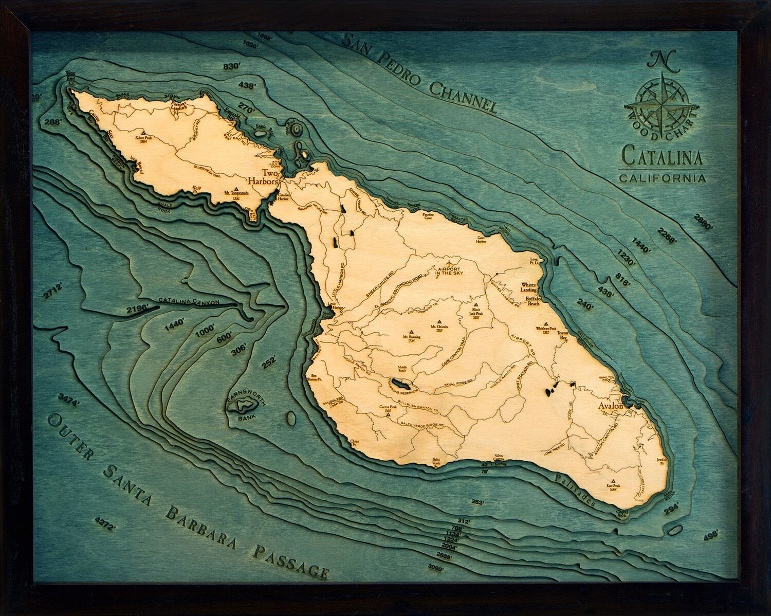 Bathymetric Map Catalina Island, California