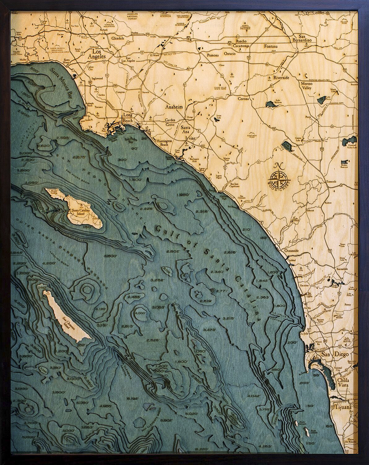 Bathymetric Map Los Angeles to San Diego, California