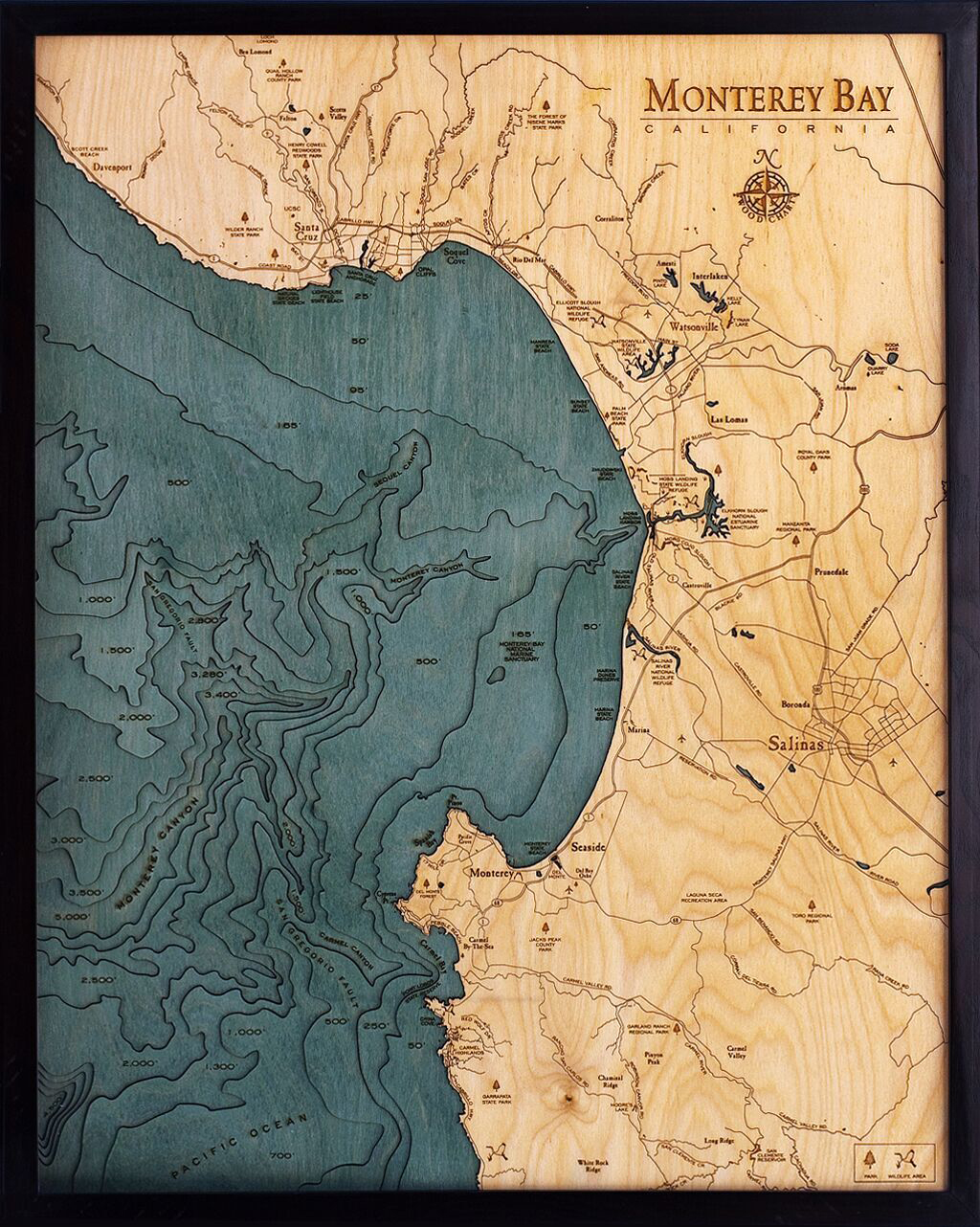 Bathymetric Map Monterey Bay, California