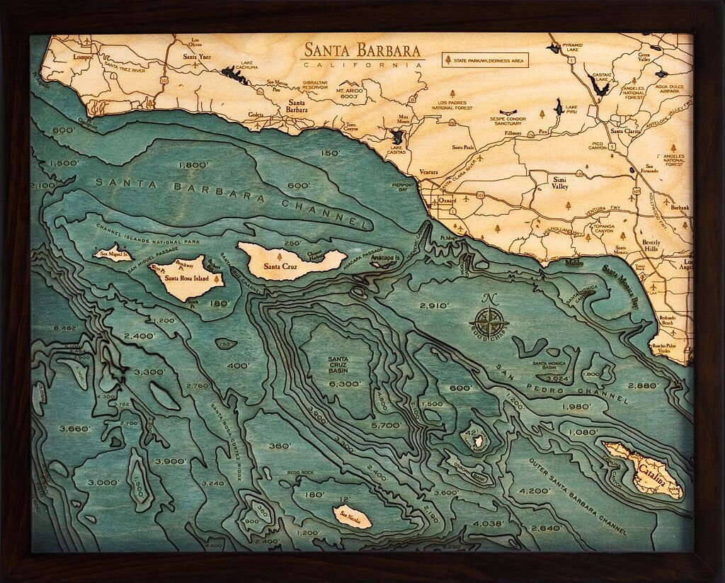 Bathymetric Map Santa Barbara, California