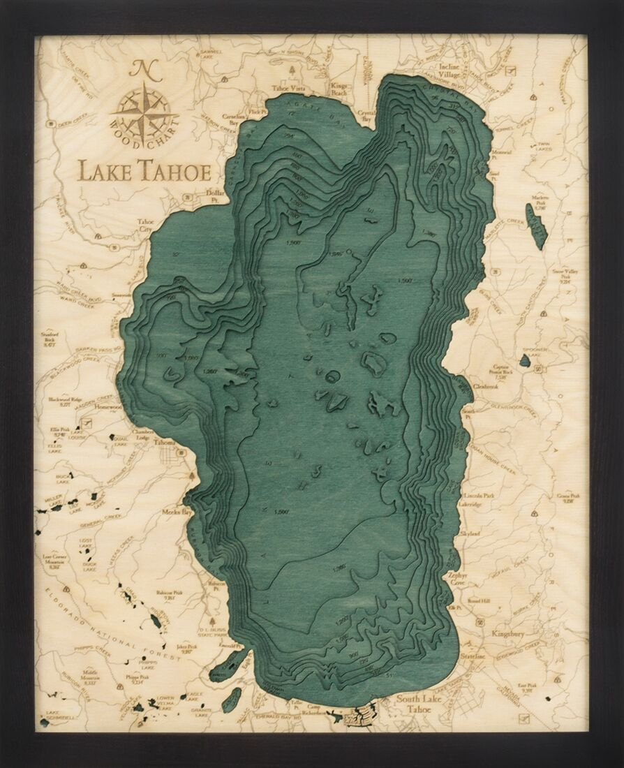 Bathymetric Map Lake Tahoe, California