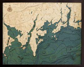 Bathymetric Map Darian, Connecticut