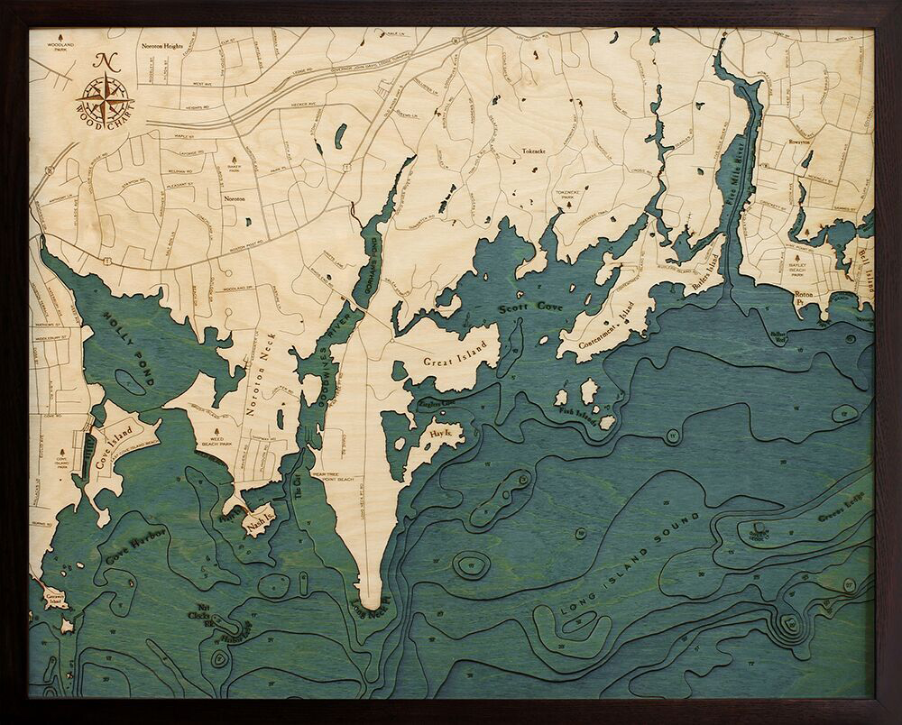 Bathymetric Map Darian, Connecticut
