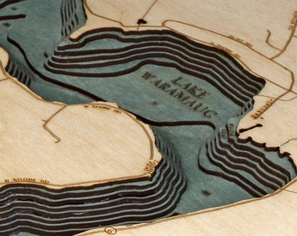 Bathymetric Map Lake Waramaug, Connecticut