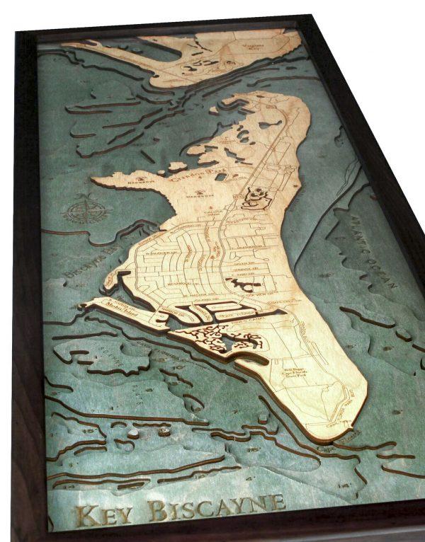 Bathymetric Map Key Biscayne, Florida