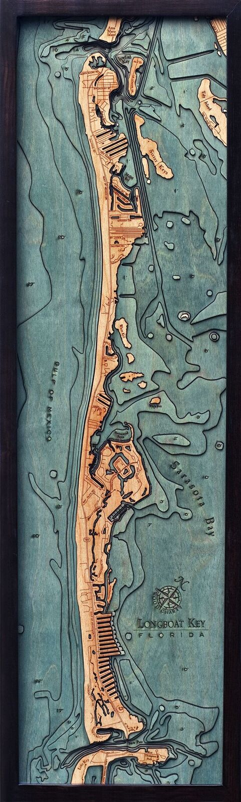 Bathymetric Map Longboat Keys, Florida