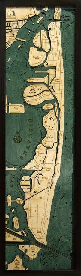 Bathymetric Map Miami Beach, Florida