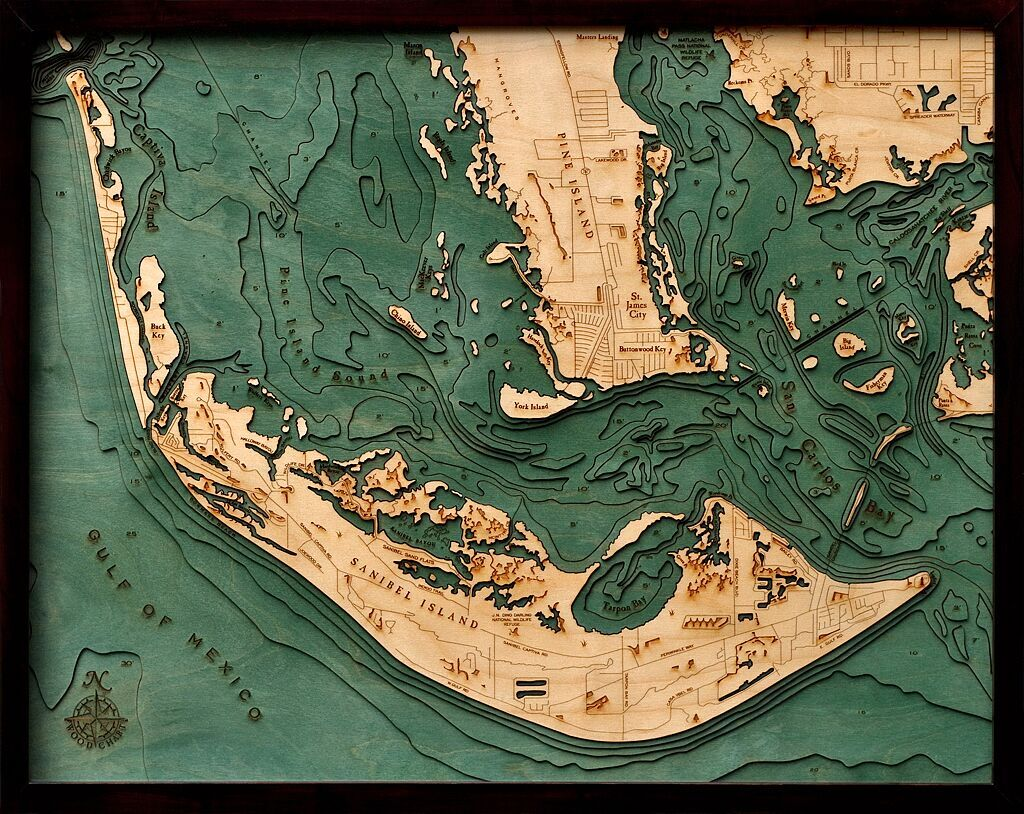 Bathymetric Map Sanibel Island & Pine Island, Florida
