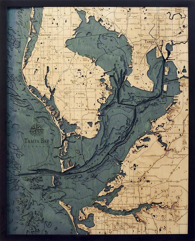 Bathymetric Map Tampa Bay, Florida