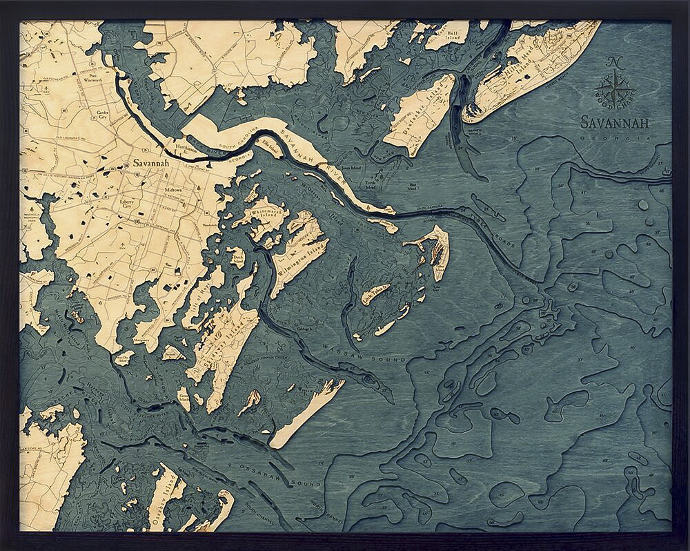 Bathymetric Map Savannah, Georgia