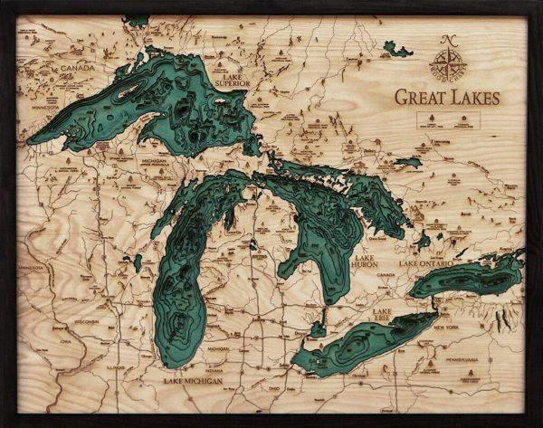 Bathymetric Map Great Lakes