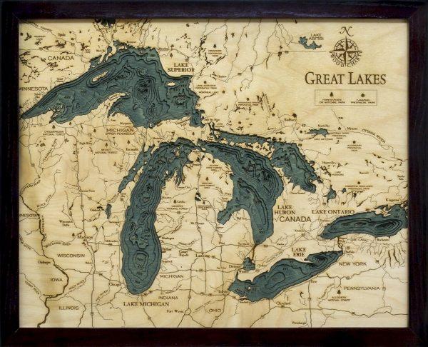 Bathymetric Map Great Lakes Small