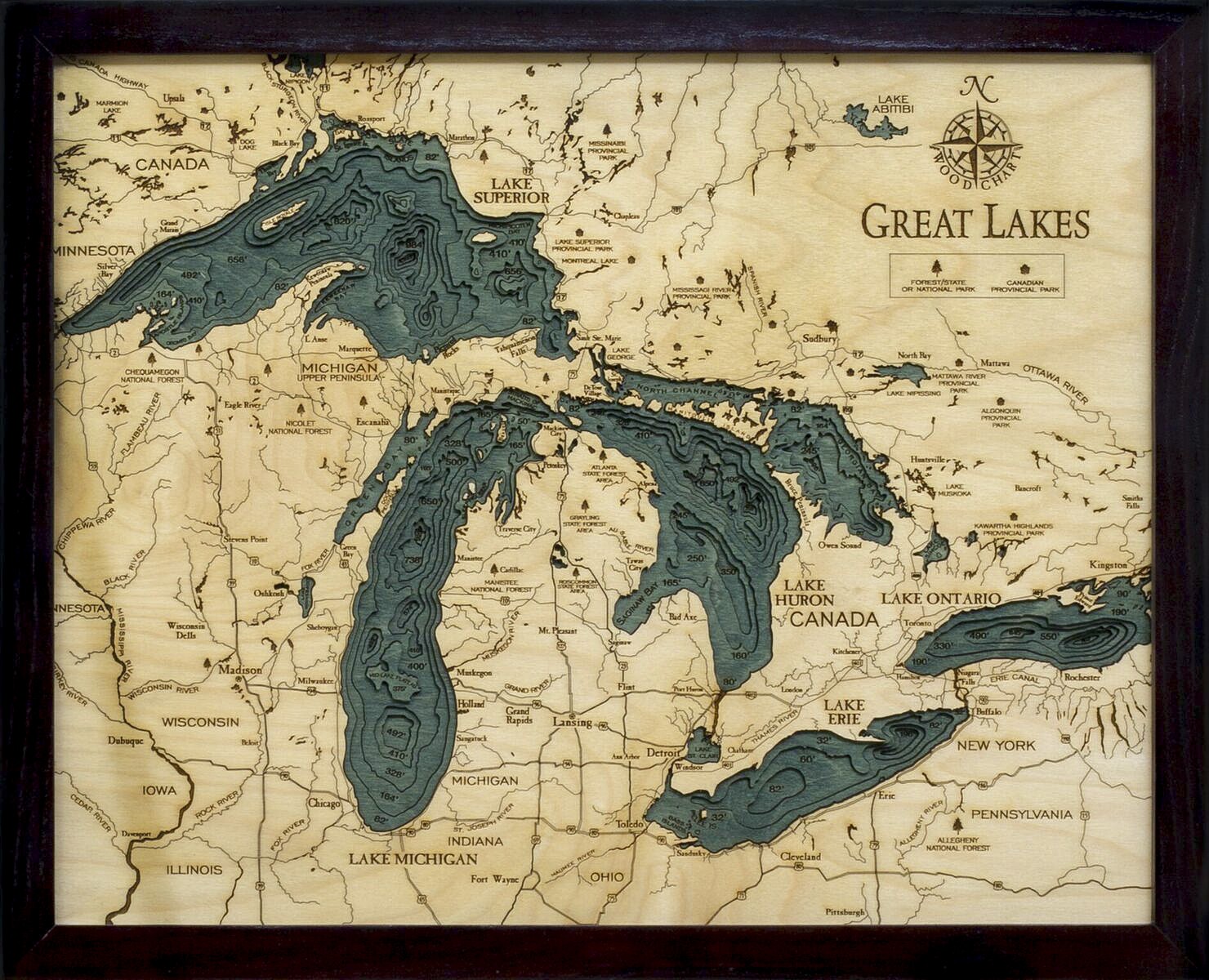 Bathymetric Map Great Lakes Small
