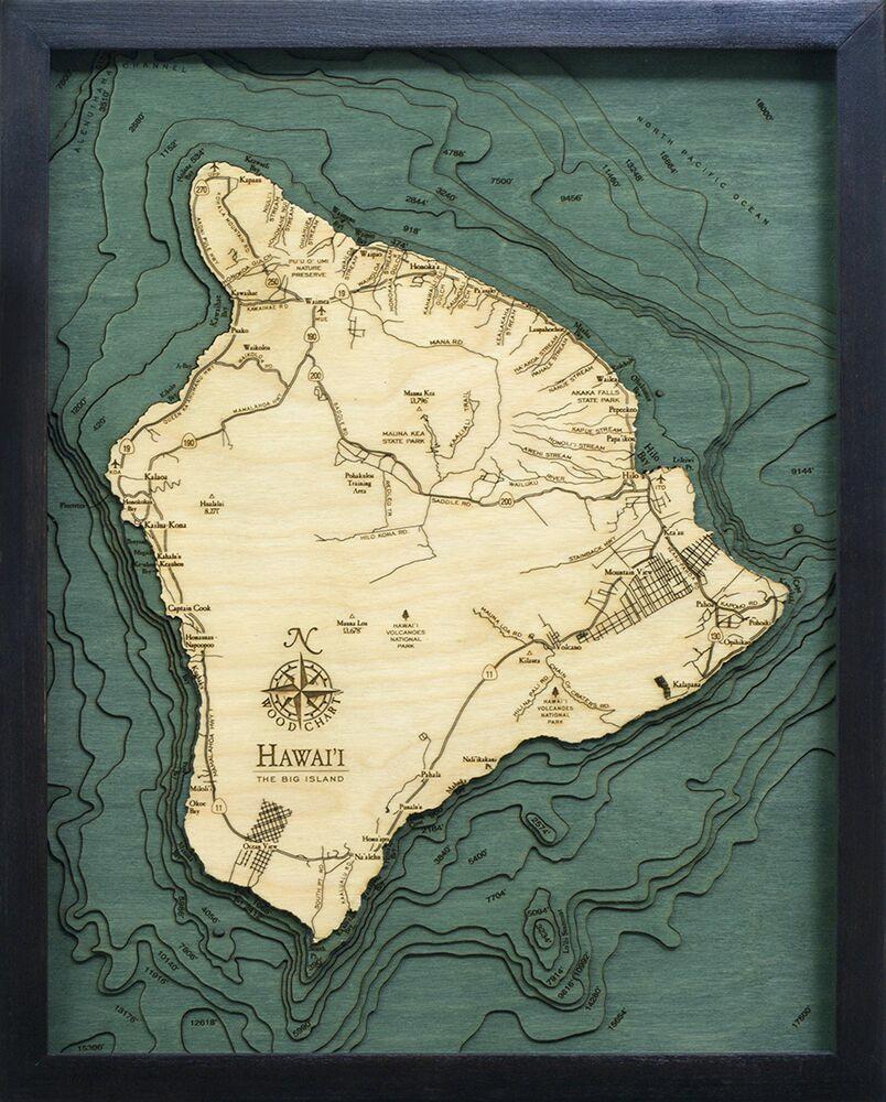 Bathymetric Map Hawaii (The Big Island)