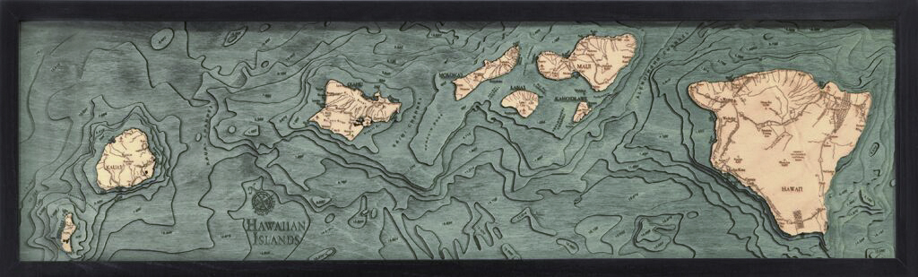 Bathymetric Map Hawaiian Islands