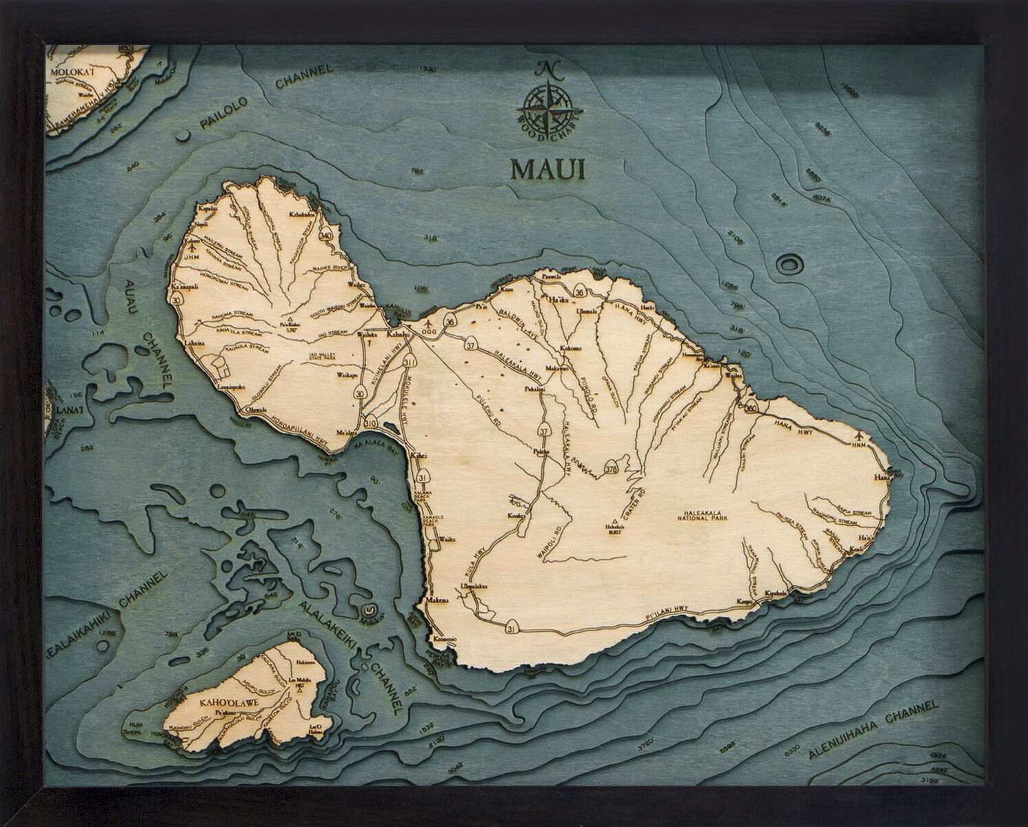 Bathymetric Map Maui, Hawaii