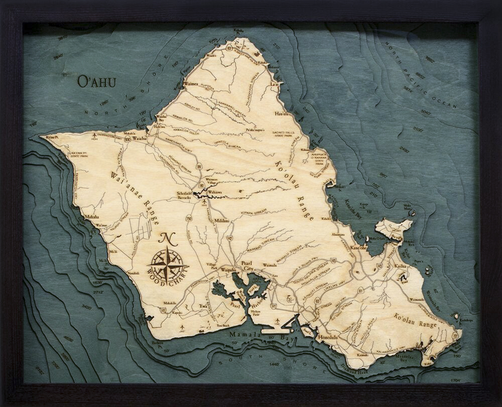 Bathymetric Map Oahu, Hawaii