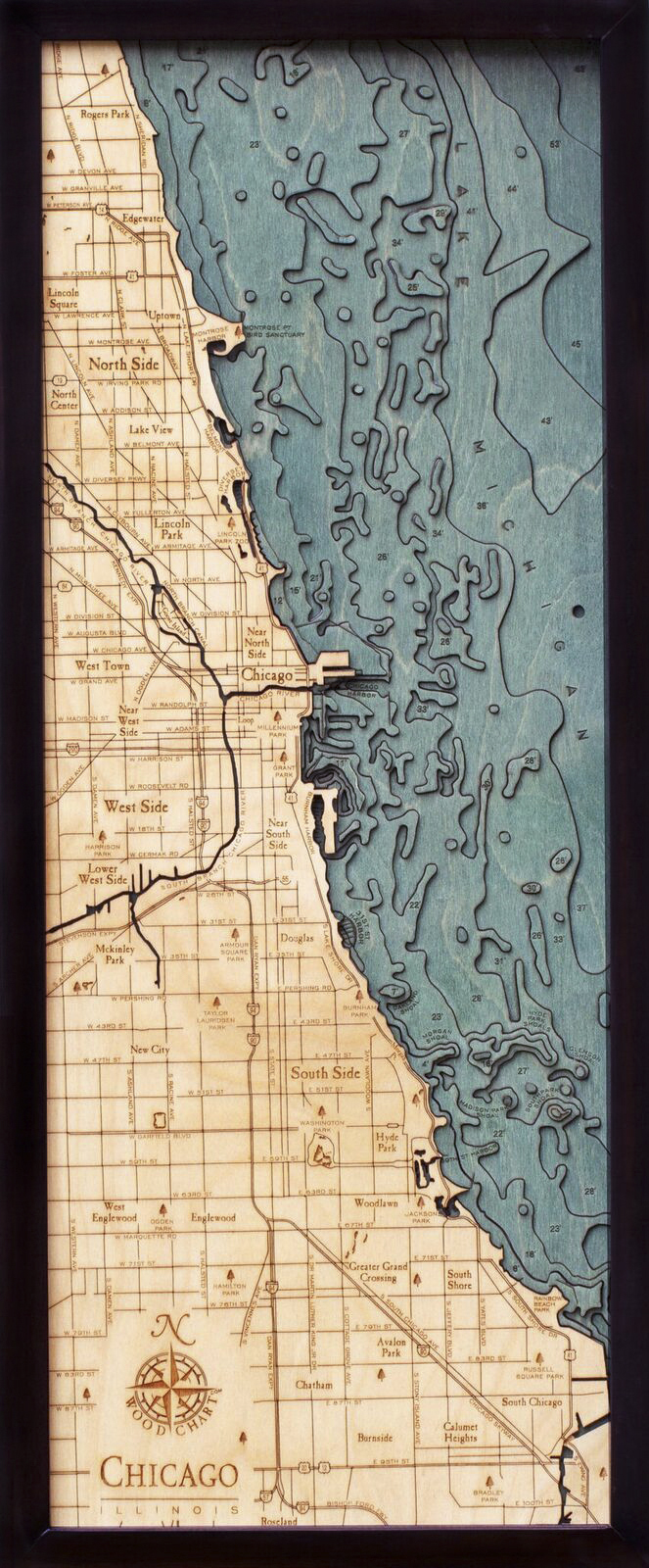 Bathymetric Map Chicago, Illinois - Scrimshaw Gallery