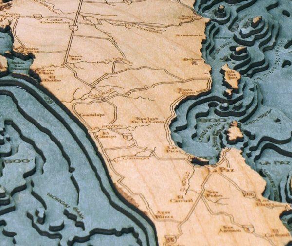 Bathymetric Map Baja Peninsula, Mexico