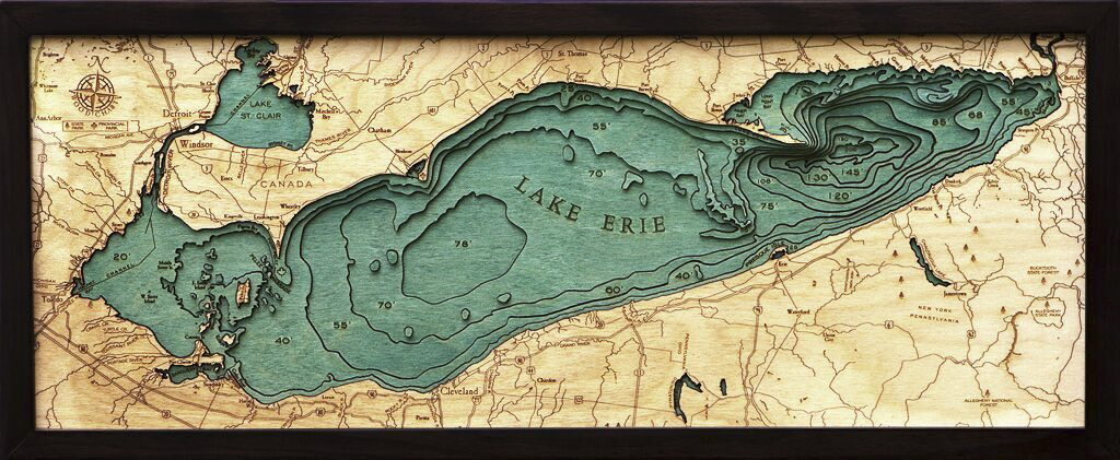 Bathymetric Map Lake Erie