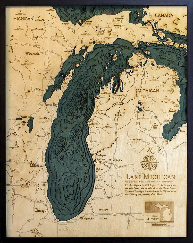 Bathymetric Map Lake Michigan