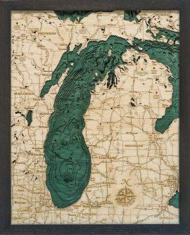 Bathymetric Map Lake Michigan Small