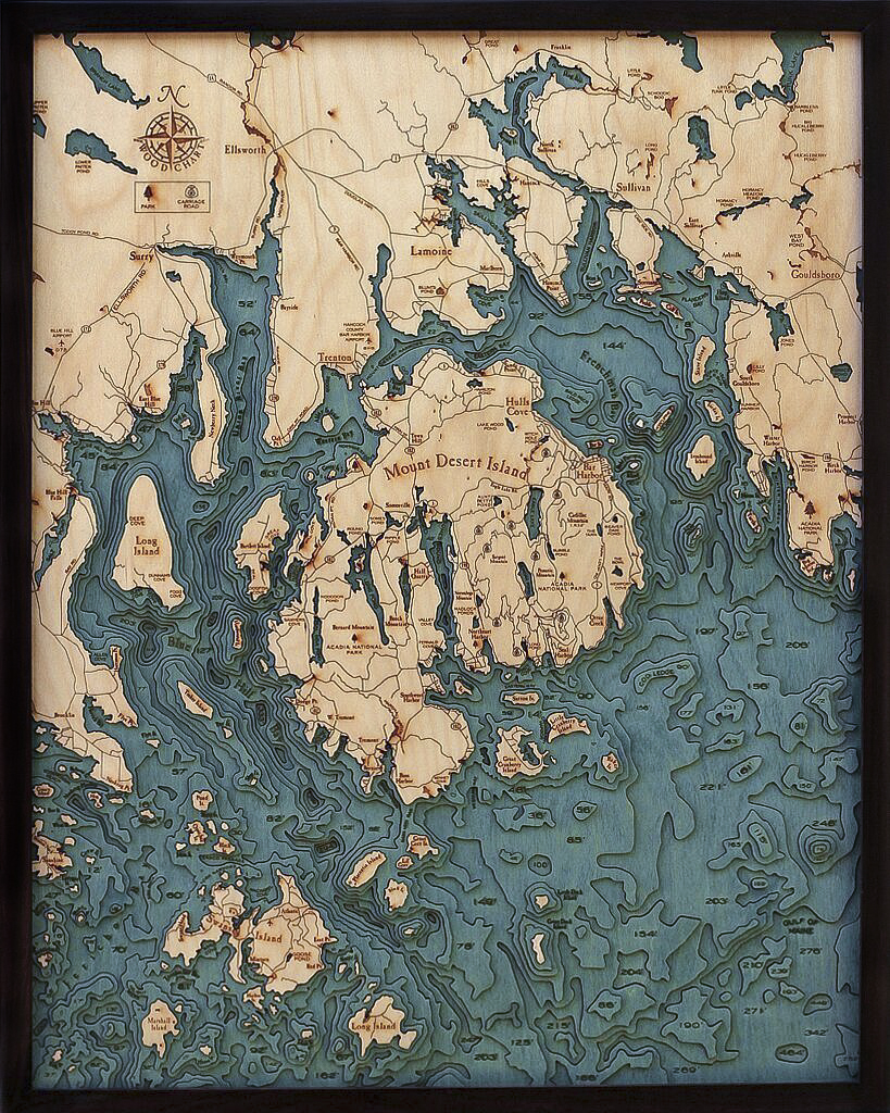 Bathymetric Map Bar Harbor, Maine