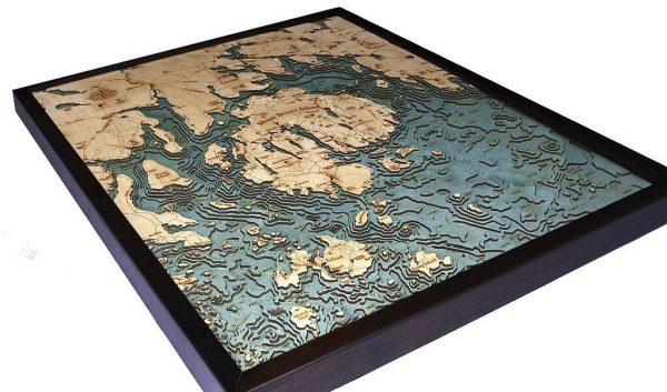 Bathymetric Map Bar Harbor, Maine