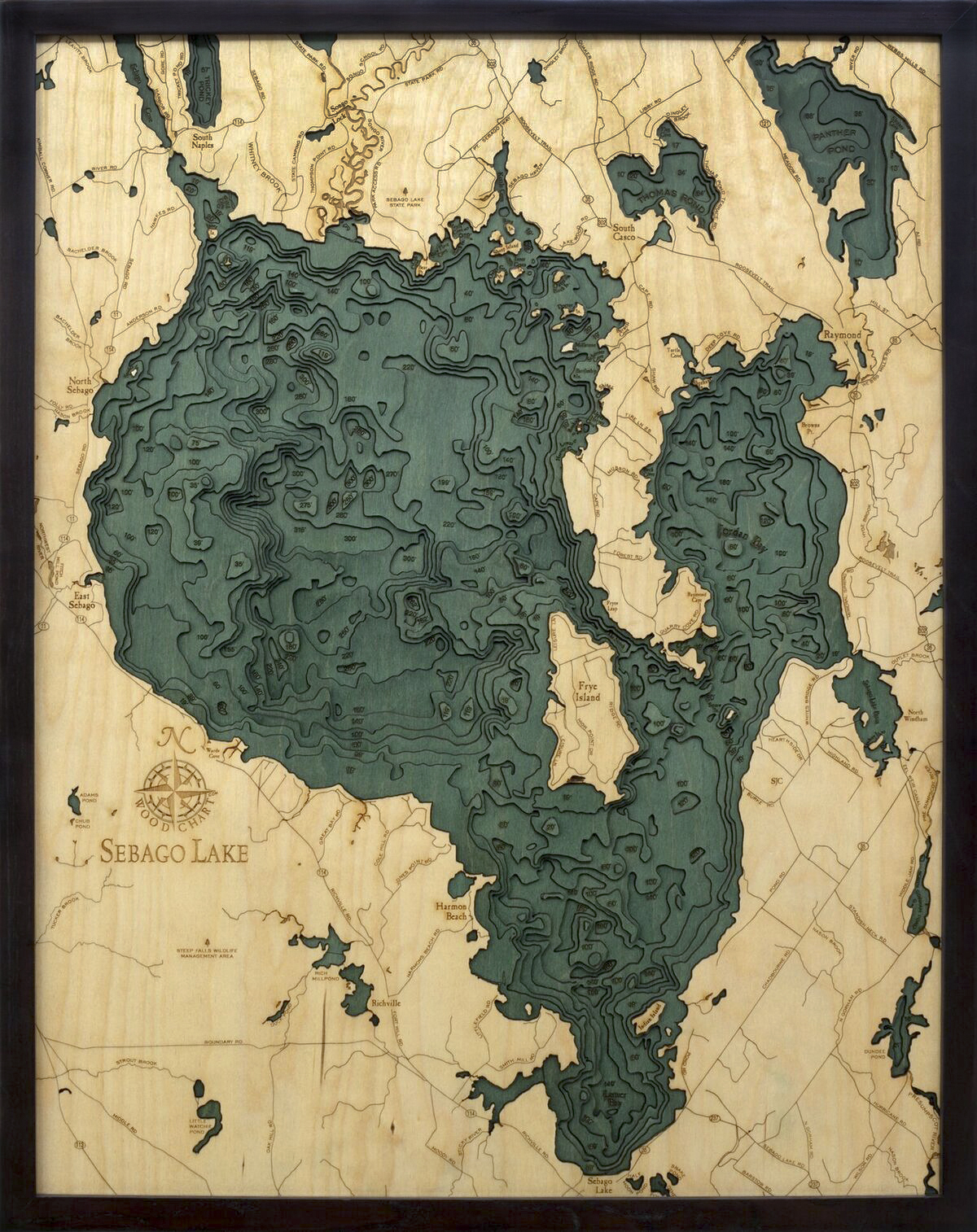 Bathymetric Map Sebago Lake, Maine