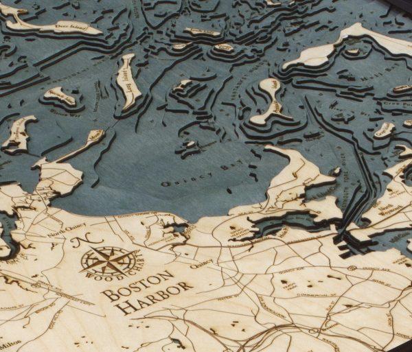 Bathymetric Map Boston Harbor, Massachusetts