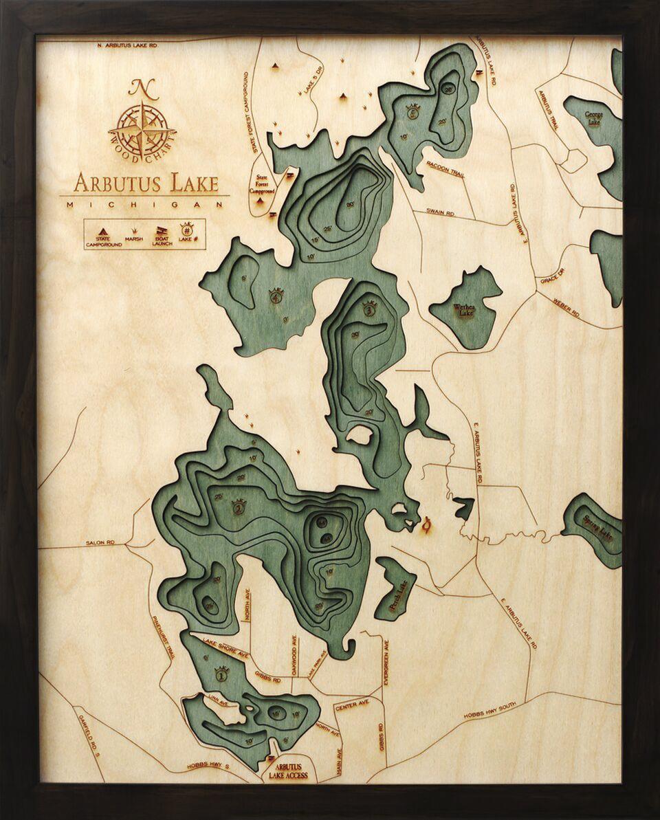 Bathymetric Map Arbutus Lake, Michigan