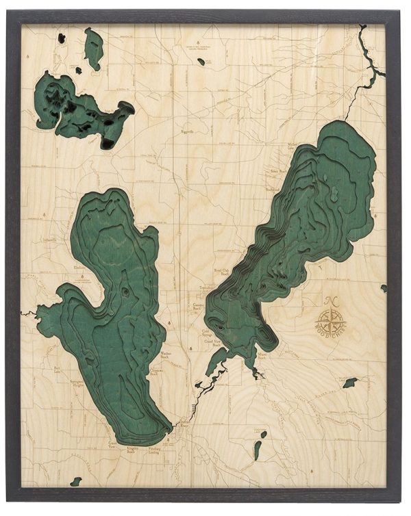 Bathymetric Map Burt & Mullet Lakes, Michigan