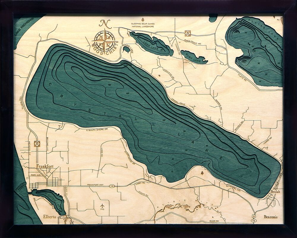 Bathymetric Map Crystal Lake, Michigan