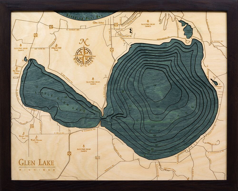 Bathymetric Map Glen Lake, Michigan