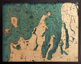 Bathymetric Map Grand Traverse & Leelanau Peninsula, Michigan