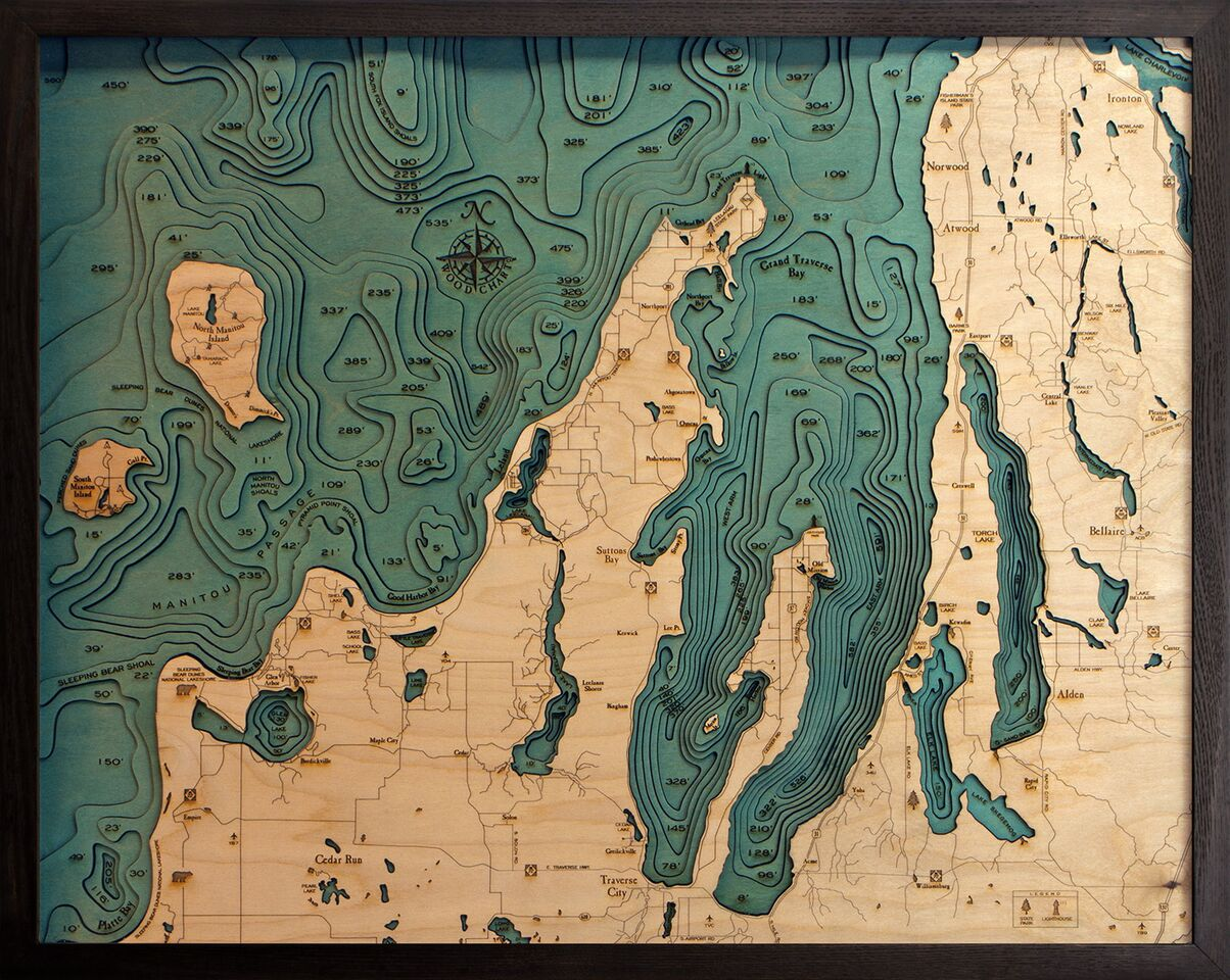 Bathymetric Map Grand Traverse & Leelanau Peninsula, Michigan