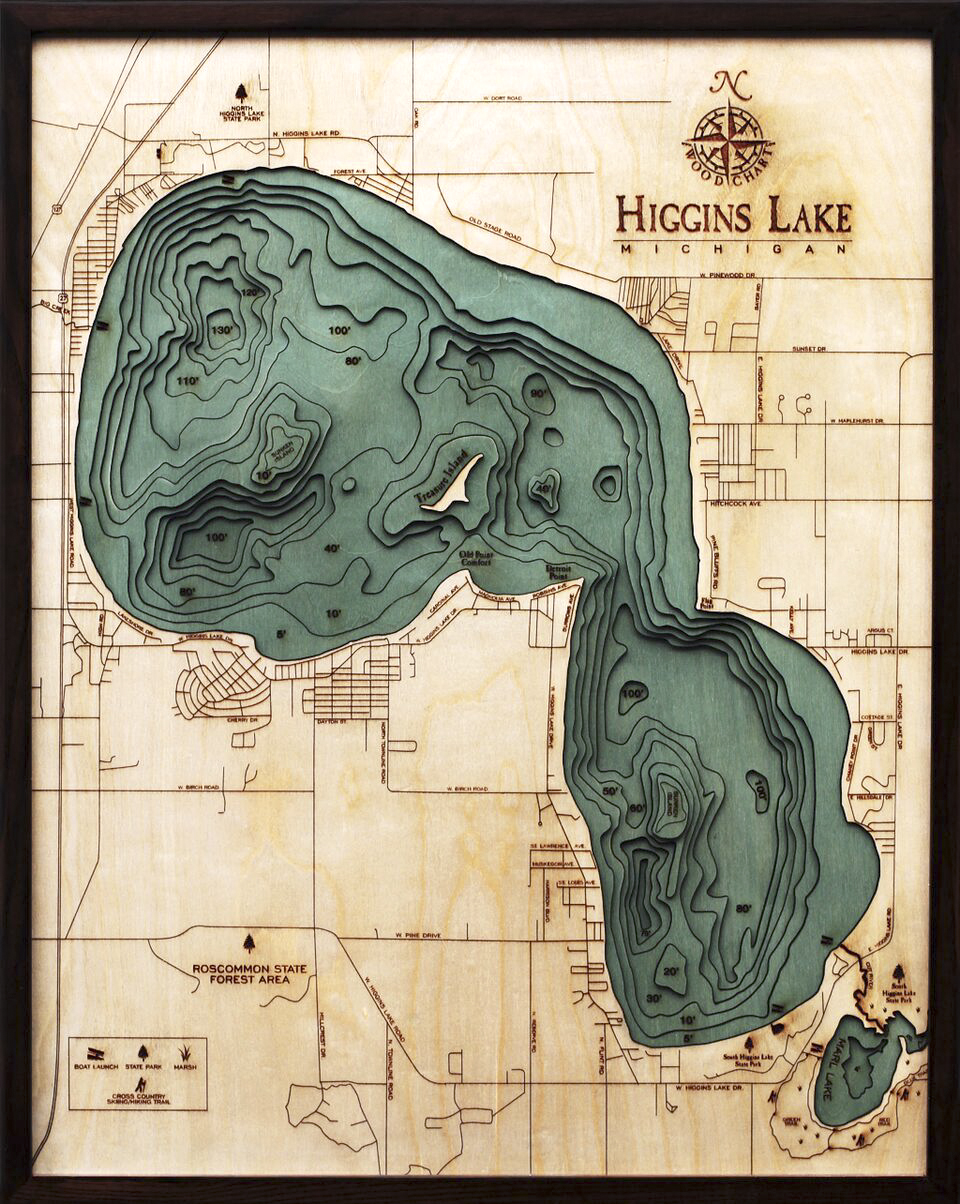 Bathymetric Map Higgins Lake, Michigan