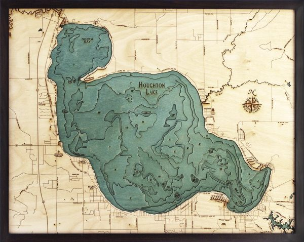 Bathymetric Map Houghton Lake, Michigan
