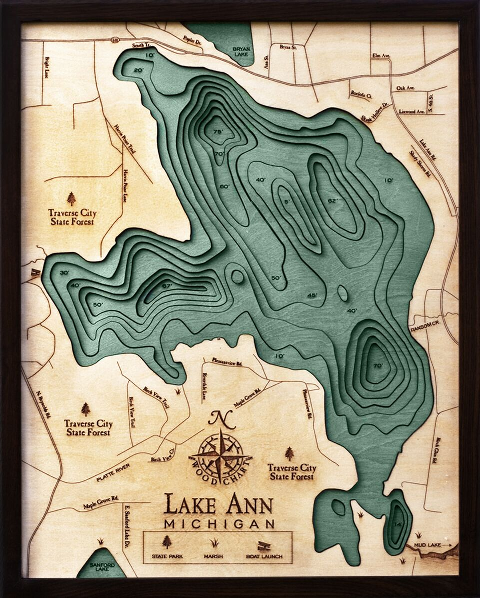 Bathymetric Map Lake Ann, Michigan