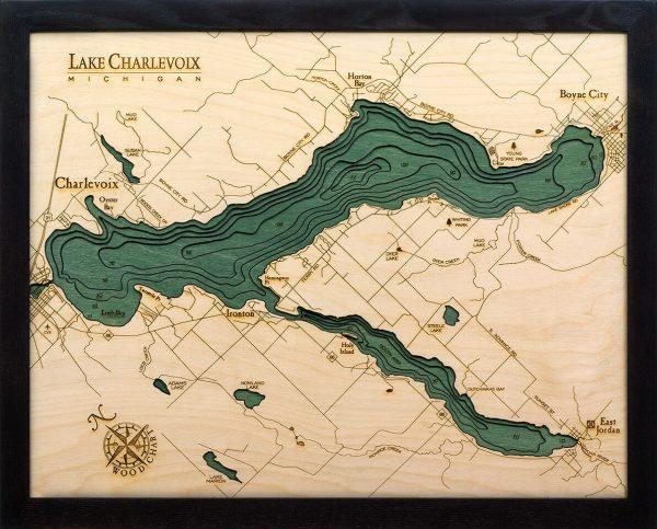 Bathymetric Map Lake Charlevoix, Michigan