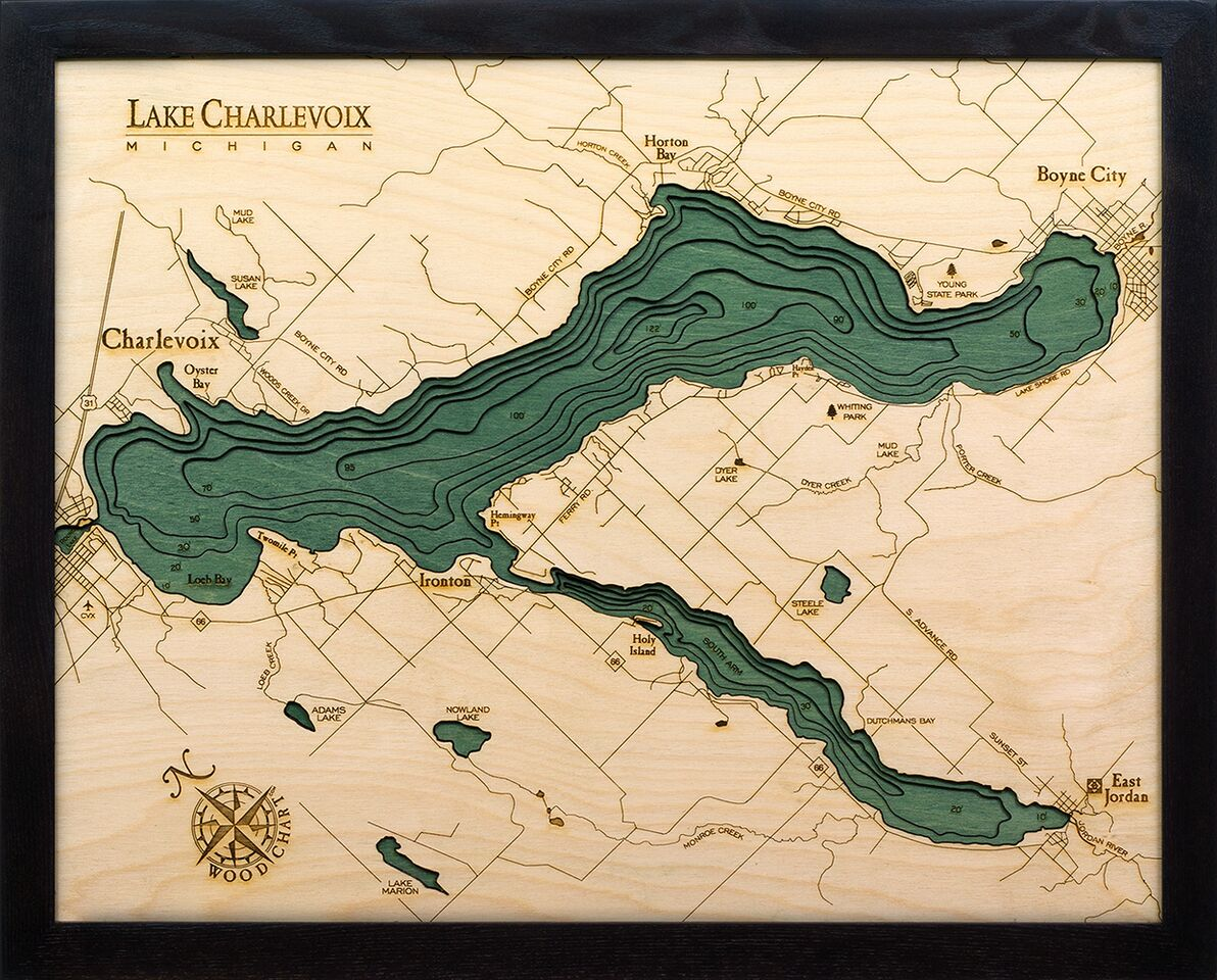 Bathymetric Map Lake Charlevoix, Michigan
