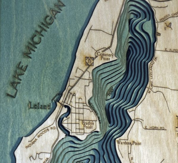 Bathymetric Map Lake Leelanau, Michigan