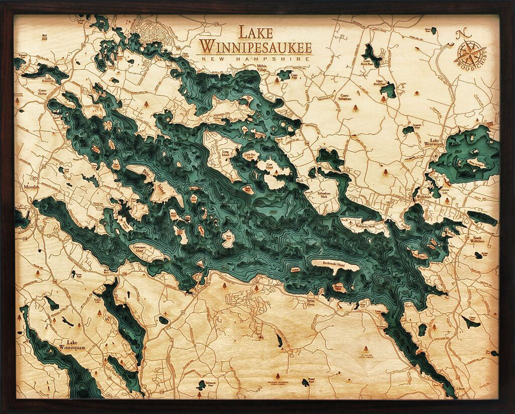 Bathymetric Map Lake Winnipesaukee, New Hampshire