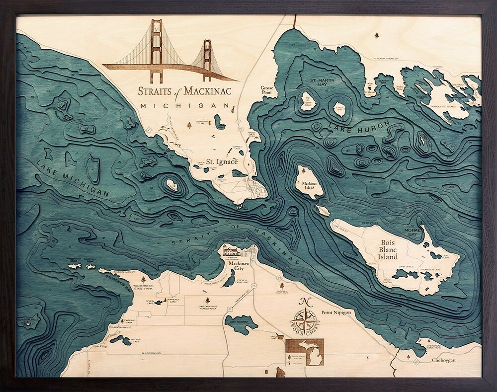 Bathymetric Map Straits of Mackinac, Michigan
