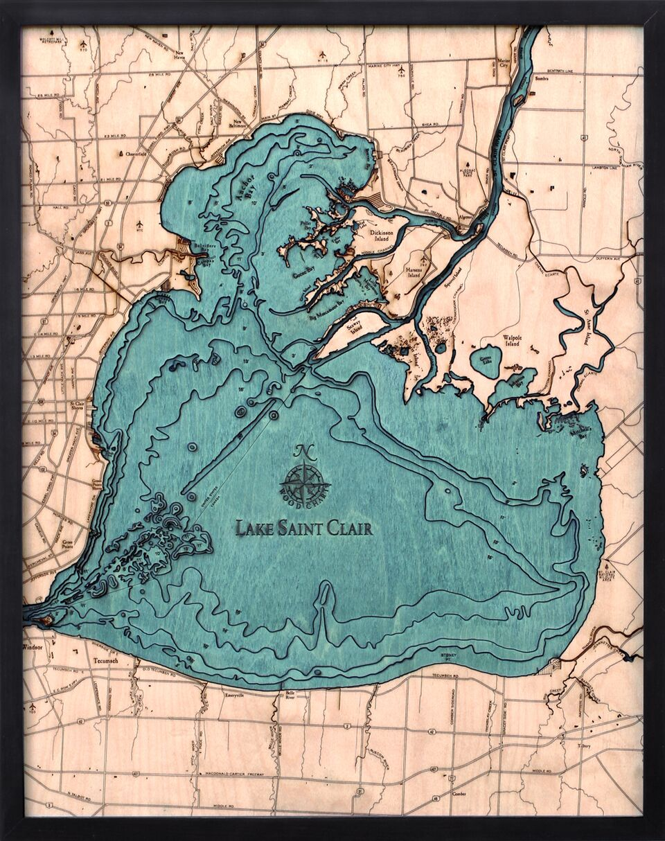 Bathymetric Map Lake St. Clair, Michigan