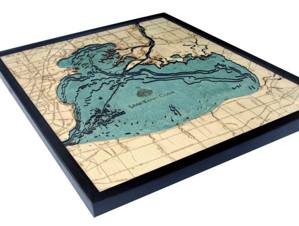 Bathymetric Map Lake St. Clair, Michigan