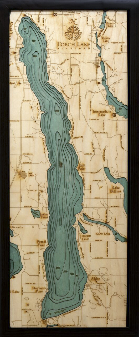 Bathymetric Map Torch Lake, Michigan