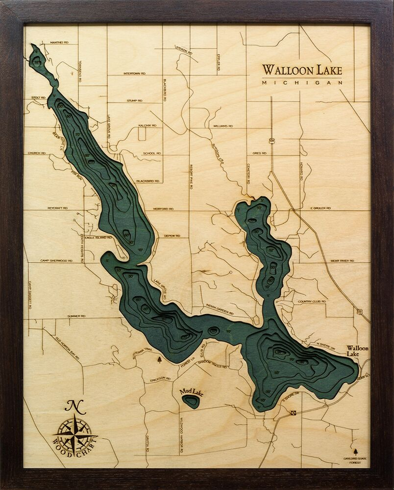 Bathymetric Map Walloon Lake, Michigan