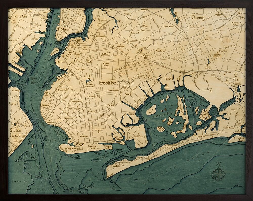 Bathymetric Map Brooklyn, New York